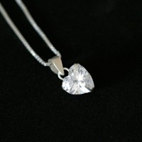 925 Silver Chain with Heart Pendant with Stone Zirconia