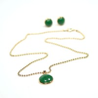 Semi Jewelry Set Gold Plated Necklace and Earring Rat Tail with Natural Green Agate Stone