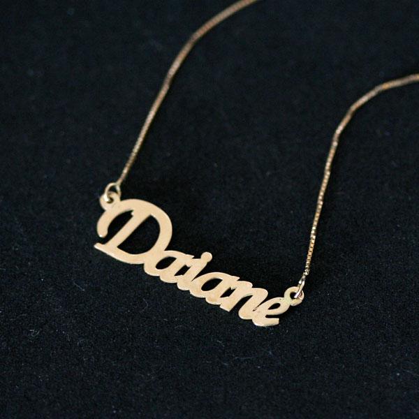 d5e2f6b34f0b9 Gargantilha de Ouro Amarelo 18k Veneziana 45cm com Pingente Nome  Personalizado