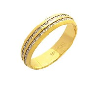 Alliance Gold 18k 750 with two fillets in White Gold Width 4.60mm Height 1.10 mm