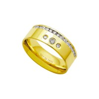 Alliance Anatomic 18k Gold 750 with 17 brilliant 2.25 Points Width 7.50mm Height 1.80mm