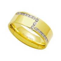 Alliance Anatomic 18k Gold 750 with 17 brilliant 2.25 Points Width 7.00mm Height 1.80mm