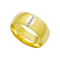 Alliance Anatomic 18k Gold 750 with 4 brilliant 2.25 Points Width 8.00mm Height 1.70mm