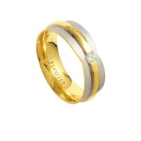 Anatómico Alliance Gold y 18k de oro blanco 750 con un brillante 11,00 puntos Ancho 2.20mm Altura 7.00mm