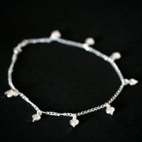 925 Silver Heart Anklet 25cm