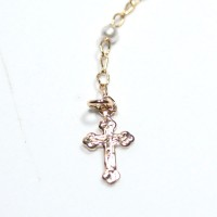Semi Choker Jewelry Gold Plated Rosary with Pearl 55cm