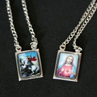 Scapular Steel Colored Sacred Heart of Jesus and St. George