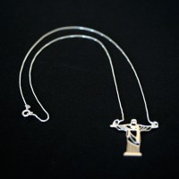 925 Silver Necklace 40cm with Pendant 3cmx2.5cm Christ the Redeemer