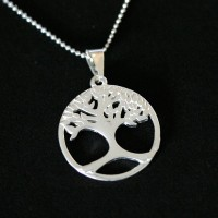 Choker Necklace 925 Silver Polka Dot 45cm / 1.0mm with Tree of Life Pendant
