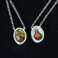 925 Silver Scapular Sacred Heart of Jesus and Our Lady of Mount Caramel
