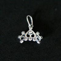 925 Silver Pendant with Stone Crown Princess Zirconia