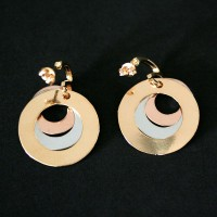 Earring Gold Plated Jewelry Semi Circles 3 Hope, Peace, Love and Happiness