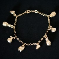 Semi Bracelet Jewelry Gold Plated Fruits 18cm