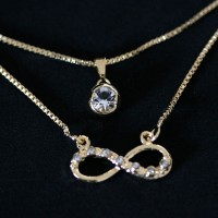 Semi Choker Jewelry Gold Plated Infinity Pendant with Zirconia Stones and 45cm light bulb