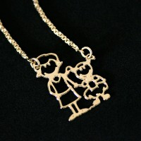 Necklace Semi Jewelry Gold Plated Family Mother and Daughter 45cm
