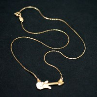 Necklace Gold Plated Jewelry Semi Guitar Pop with Zirconia stones 45cm