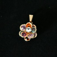Semi Pendant Jewelry Gold Plated with Rainbow Colored Zirconia Stones