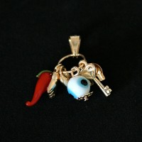 Semi Pendant Gold Plated Jewelry Amulet of Luck, Love, Protection, Health and Happiness