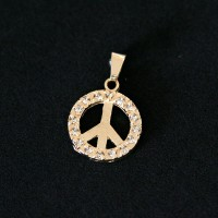 Semi Pendant Jewelry Gold Plated Peace Symbol with Zirconia Stones