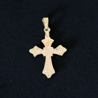 Semi Pendant Jewelry Gold Plated Cross with Zirconia Stones