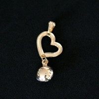 Semi Pendant Jewelry Gold Plated Heart with Zirconia Stone