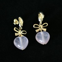 Semi Earring Jewelry Gold Plated Heart Stone Light Pink