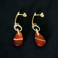 Earring Gold Plated Jewelry Semi Enjoy Great Natural Red Agate Stone