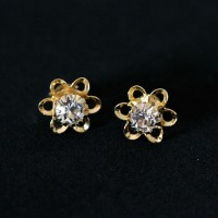 Earring Gold Plated Jewelry Semi Floris Beautiful