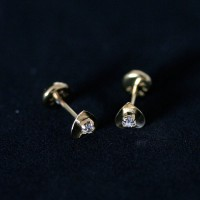 Semi Earring Jewelry Gold Plated Heart with Zirconia Stone