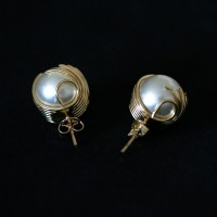 Earring Gold Plated Jewelry Semi Pearl gladiator 2
