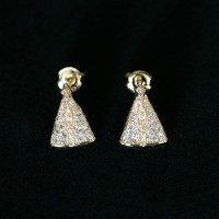 Earring Gold Plated Jewelry Semi Small Our Lady Aparecida with Strass Zirconia Stones