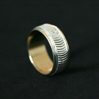 Semi Ring Jewelry Gold Plated with Silver Stripped