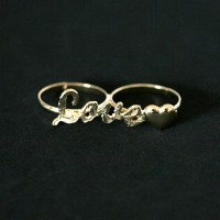 Semi Jewelry Ring Adjustable Gold Plated Love