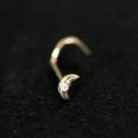 Piercing 18k Gold Moon 0750 with a Zirconia Stone