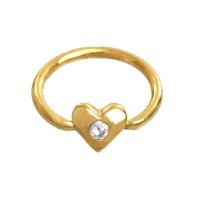 Ear Piercing in 18k Gold 0750 Captive Heart with Stone