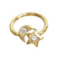 Ear Piercing in 18k Gold 0750 Captive Half Moon with Star