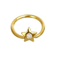 Ear Piercing in 18k Gold 0750 Captive Star with Stone
