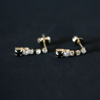 Semi Earring Jewelry Gold Plated Black