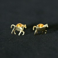 Semi Earring Jewelry Gold Plated Horse