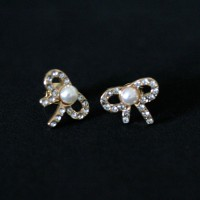 Semi Earring Jewelry Gold Plated Tie with Pearl and Zirconia Stones