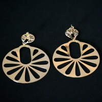 Semi Earring Jewelry Long Gold Plated Round Knockout
