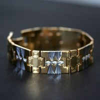 Steel Bracelet with Yellow Gold Details Worked