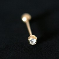 Barbell Piercing Ball w / Stone 18k Gold Plated 1.6mm x 21mm