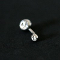 Piercing 316L Surgical Steel Navel Banana Big Stones 2 Crystal 1.6mm x 10mm