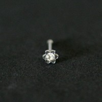 Piercing 316L Surgical Steel Nostril Nose Straight with Stone Flower Crystal 0.5mm x 7mm