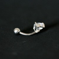 Navel Piercing 316L Surgical Steel Banana Bell Stone Zirconia Crystal Heart 10mm x 1.6mm