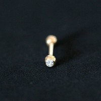 Eyebrow Piercing Microbell Straight Ball 18k Gold Plated with Crystal Stone 1.2mm x 8mm