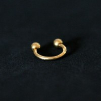 Piercing 18k Gold Plated Horseshoe Circular Barbell Ball with Crystal Stone 1.2mm x 8mm
