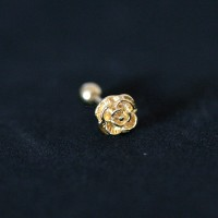 Tragus Cartilage Piercing Lobe Flower 18k Gold Plated 1.2mm x 8mm