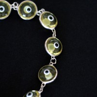 Bracelet 925 Silver Eye Greek Yellow 18cm / 1cm